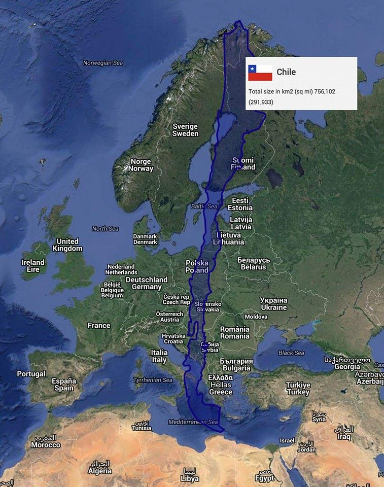 Avrupa haritası üzerine yerleştirilmiş Şili haritası ile Şili'nin ne kadar uzun bir ülke olduğu daha rahat anlaşılıyor