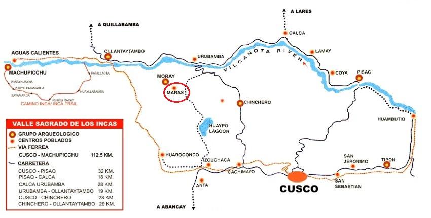 Kutsal Vadi haritasi - Peru